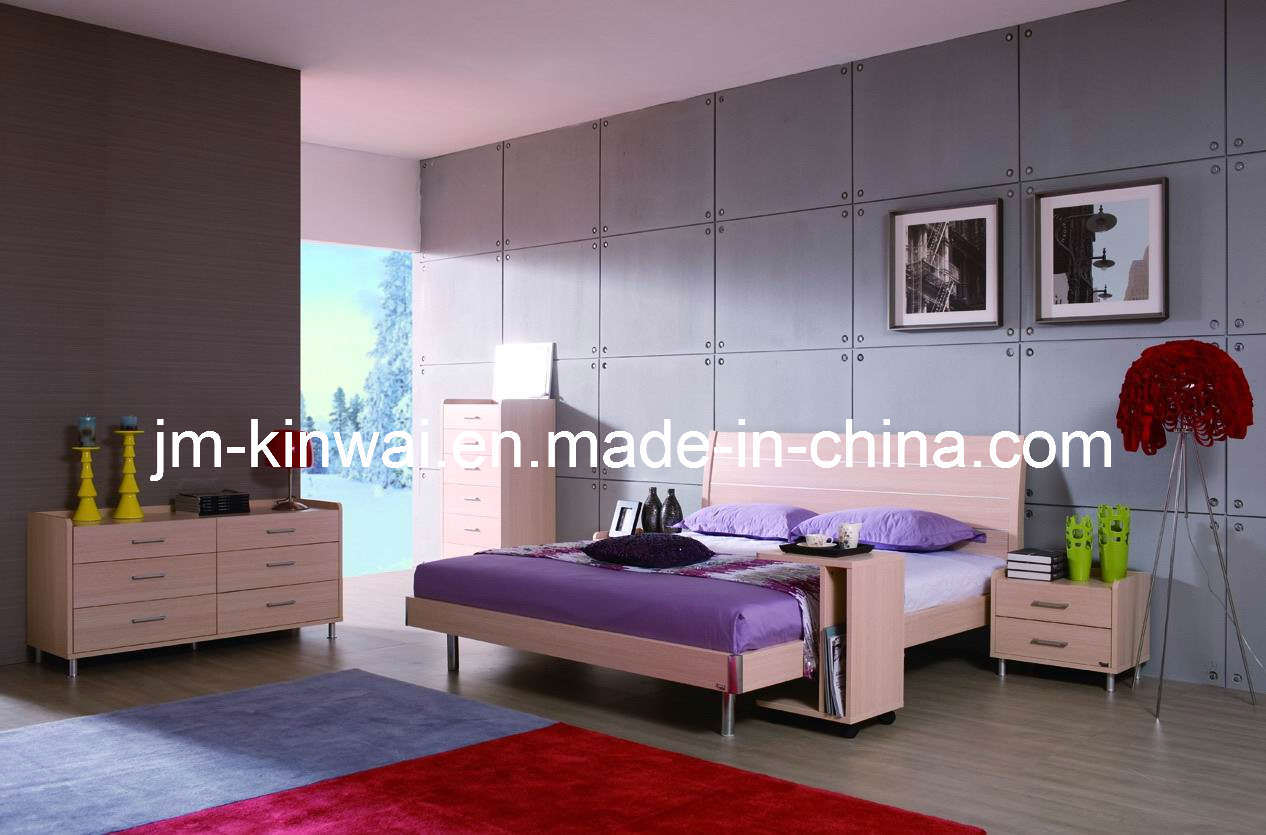China light oak melamine bed bedroom furniture