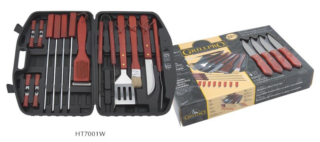 china 22pc bbq grill tool kit ht7001w china bbq bbq set. Black Bedroom Furniture Sets. Home Design Ideas