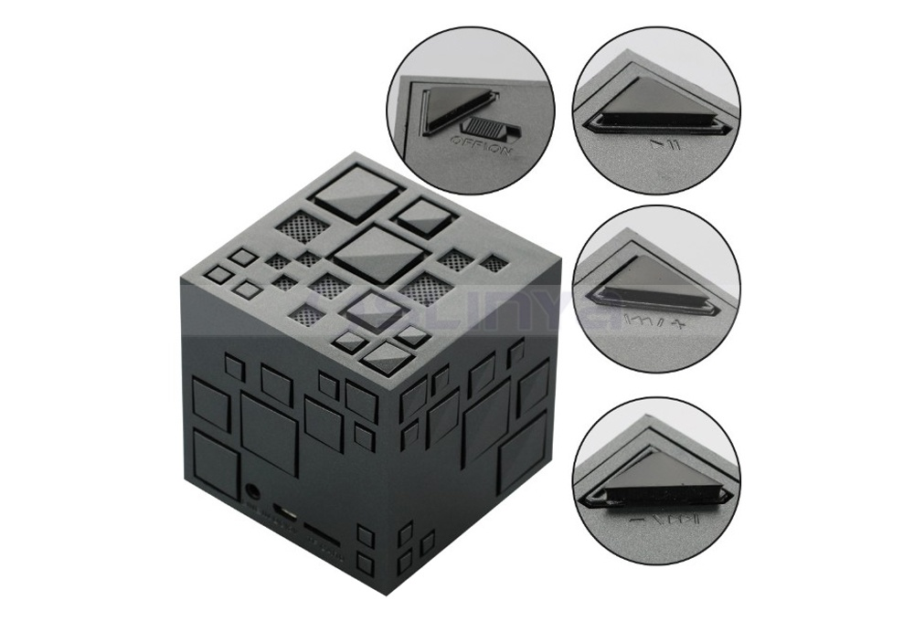 Mini Square Bass Wireless Magic Cube TF Bluetooth FM Rubik′s Cube Speaker with LED Flashlight