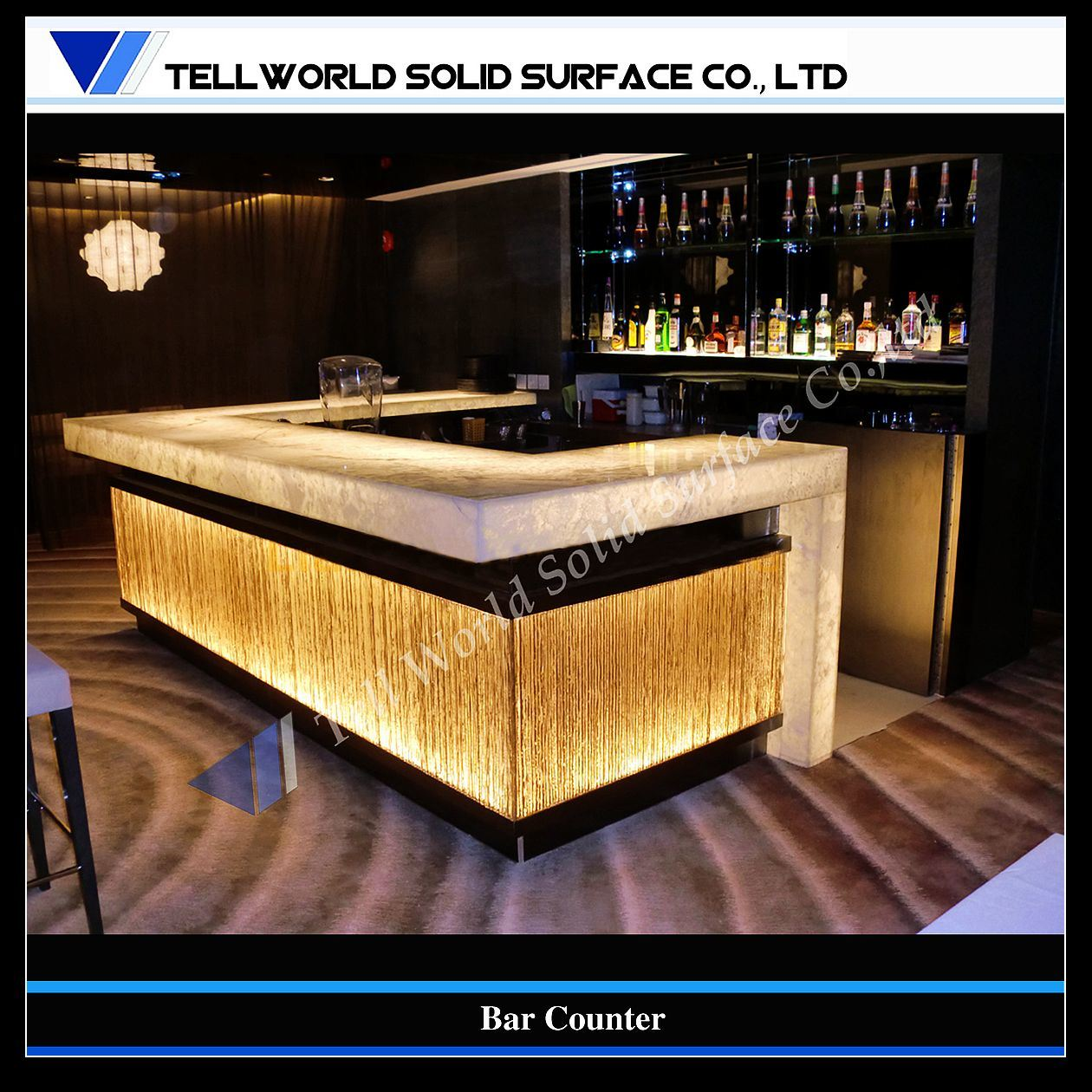 China artificial stone solid surface bar counter supplier tell world solid surface co ltd - Home bar counter design photo ...