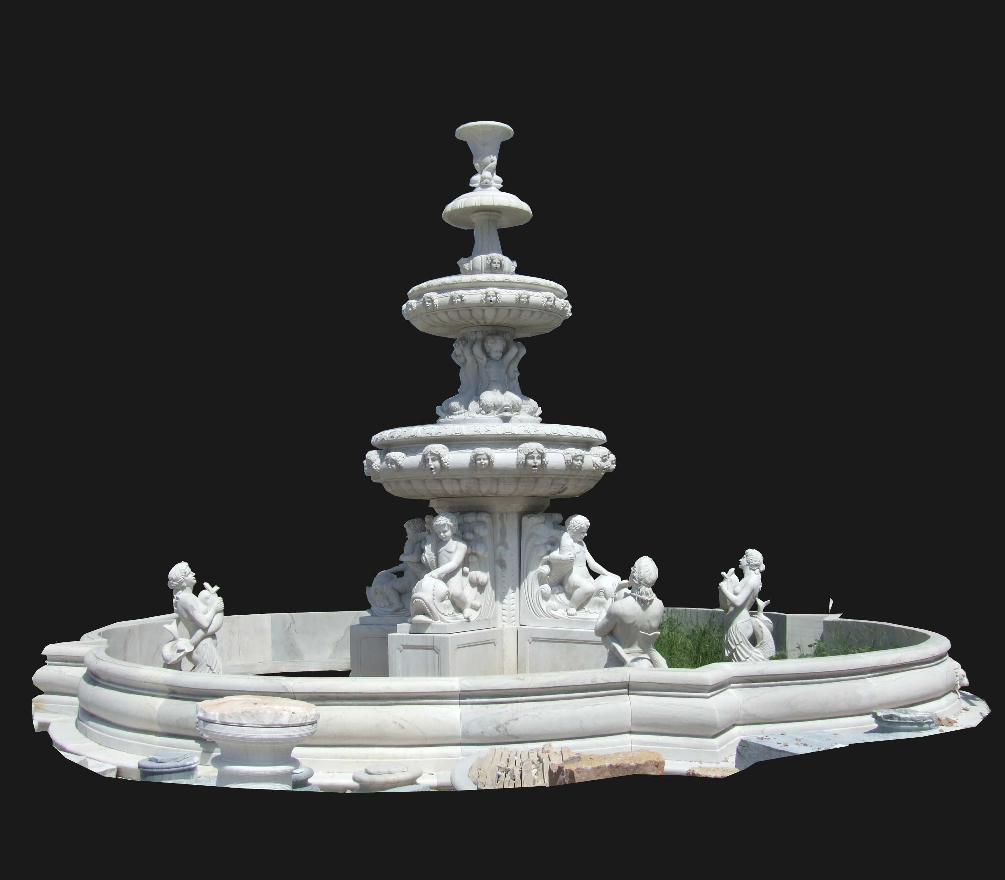 China Marble Carving Sculpture Garden Water Fountain