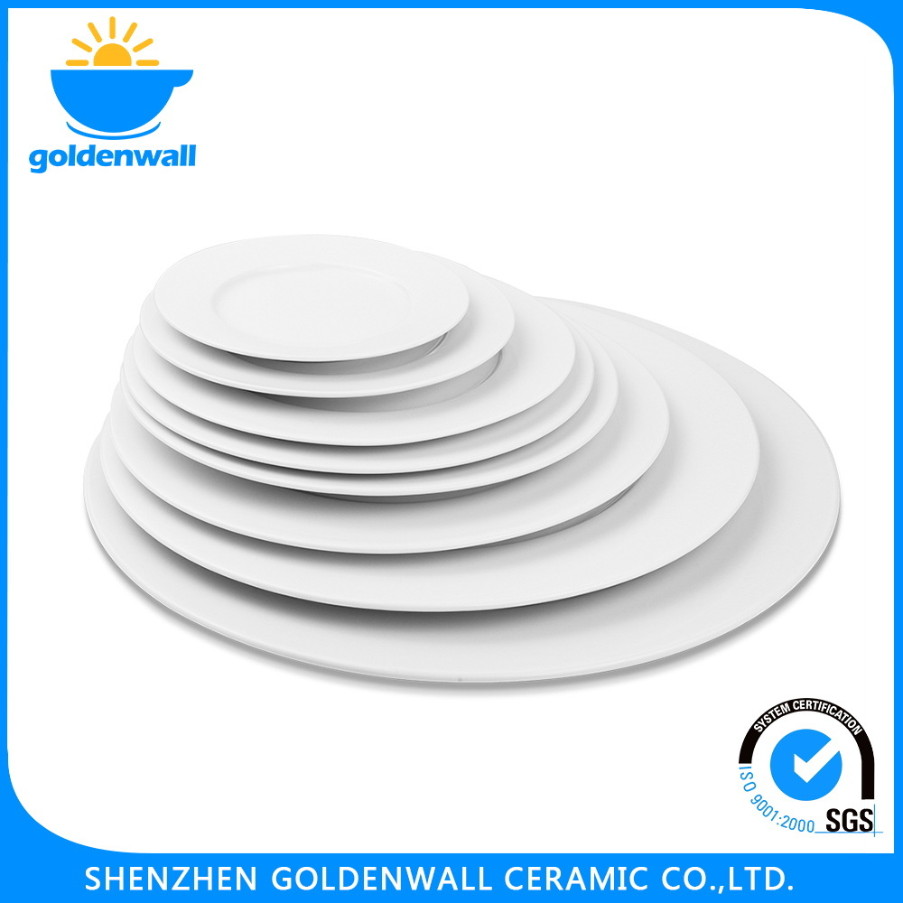 Ceramic Flat Plate and Saucer for Restaurent
