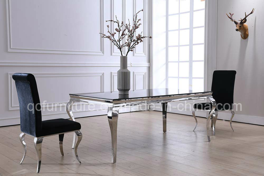 China 8 Seater Stainless Steel Marble Dining Table with Chairs