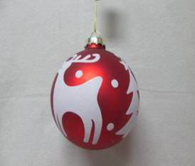 Christmas Assorted Glass Ball with Red and White Deer Decal