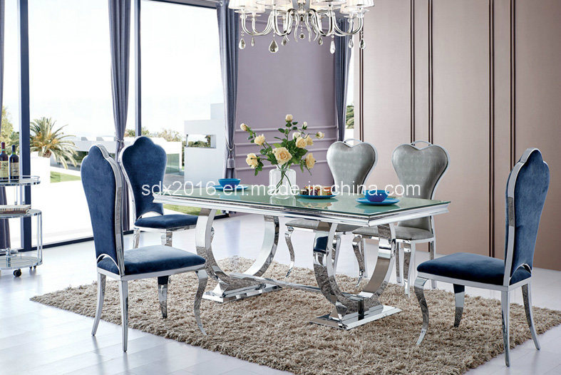 Modern Glass Dining Furniture with Stainless Steel Table Chairs