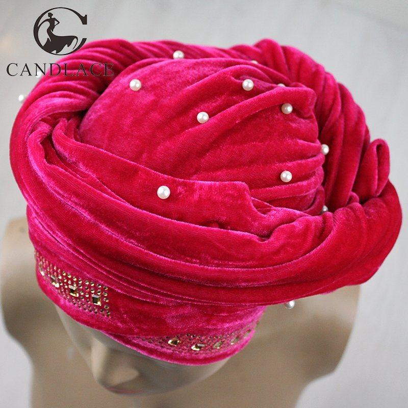 New Fashion Beaded Velvet Head Scarf