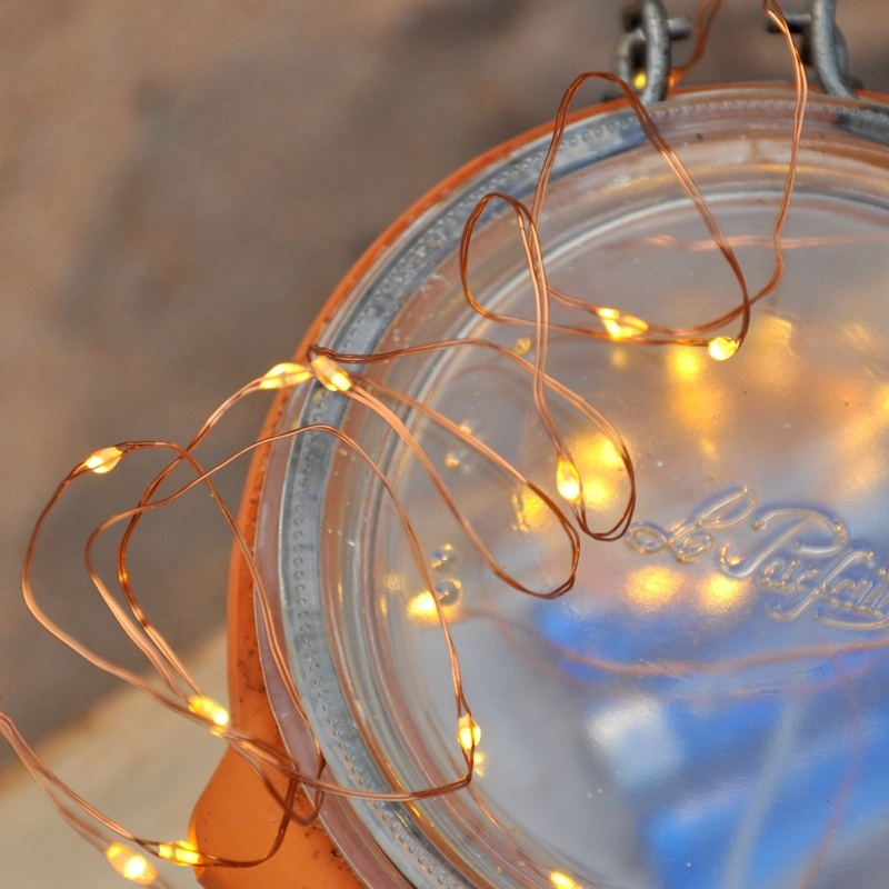 Garden Decoration Copper Wire LED Battery Powered Fairy String Light Yellow Mardi Grass Light