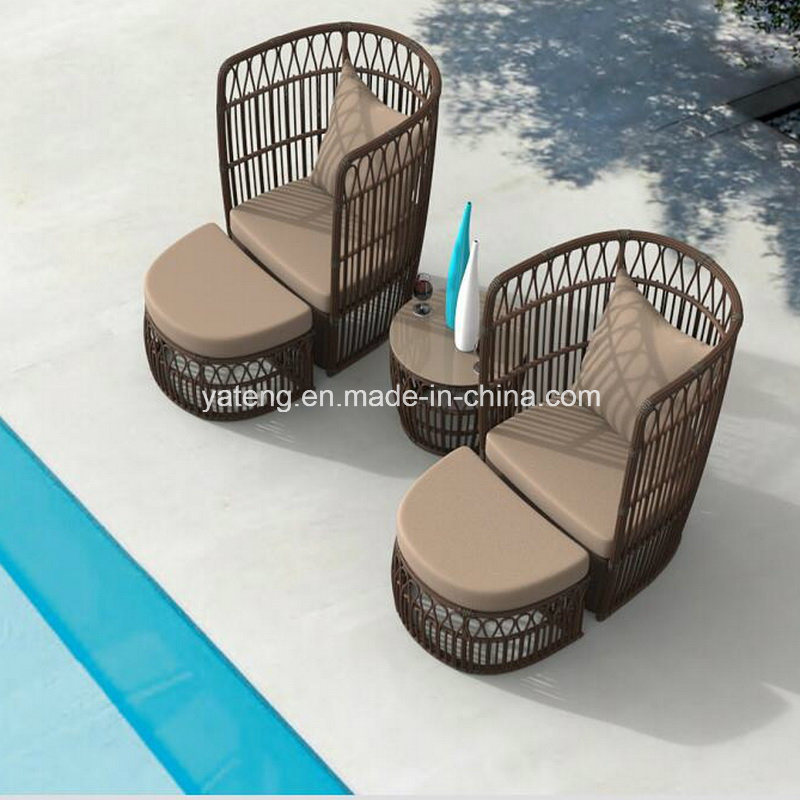 New Design Outdoor Garden Furniture Big Round Rattan Chair with Ottoman&Coffee Table