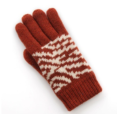 New Ladies Winter Knitted Five - Finger Wool Double-Layer Gloves with Jacquard