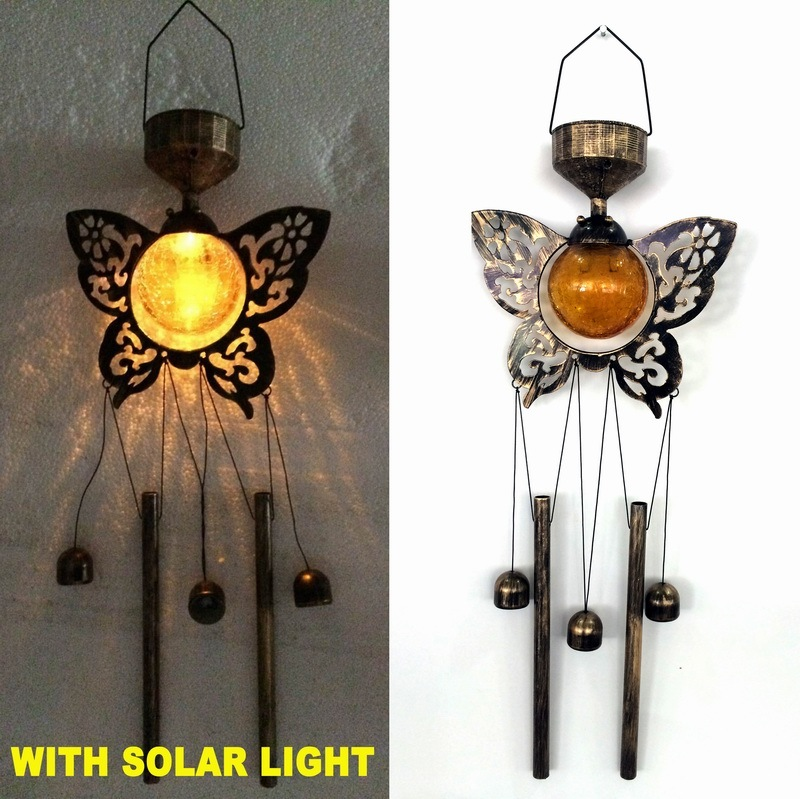 Garden Decoration Glass Ball Solar Lighted Butterfly Windchime