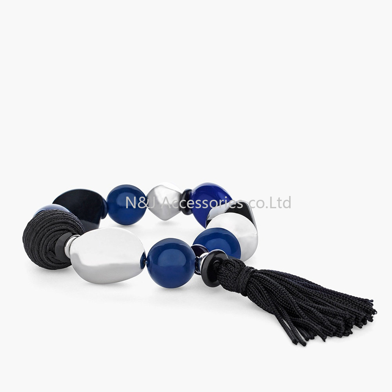 Fashion Blue Beads Elastic Women Bracelet Stretch Tassel Charm Bracelet