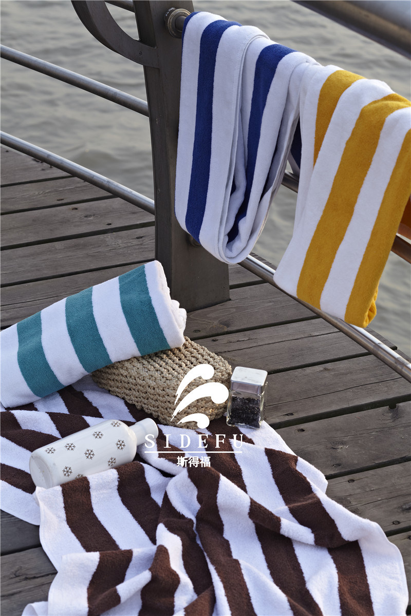 Factory Wholesale Hotel 100 Cotton Blue and White Stripe Swimming Towel Beach Towels