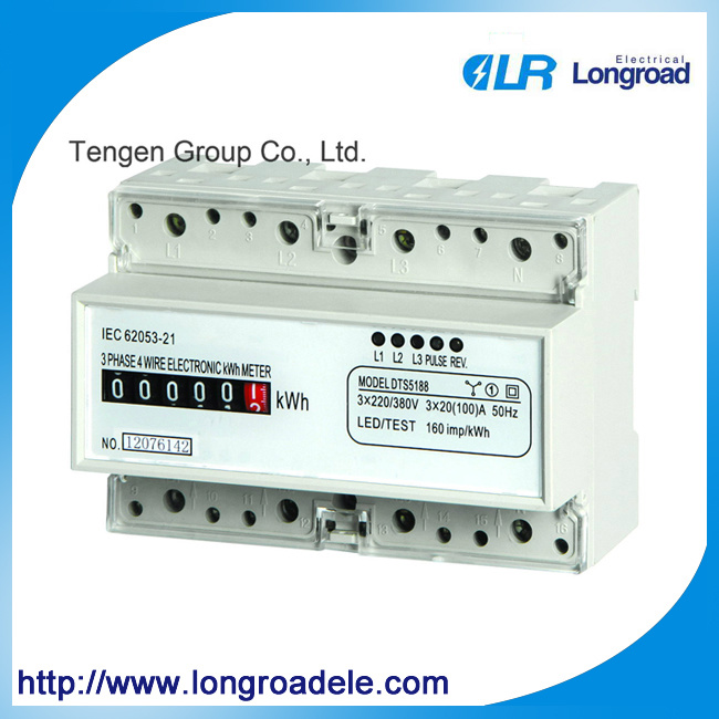 Mini Type DIN Rail Installation Three Phase Electronic Watt-Hour Meter (DTS256 (II))