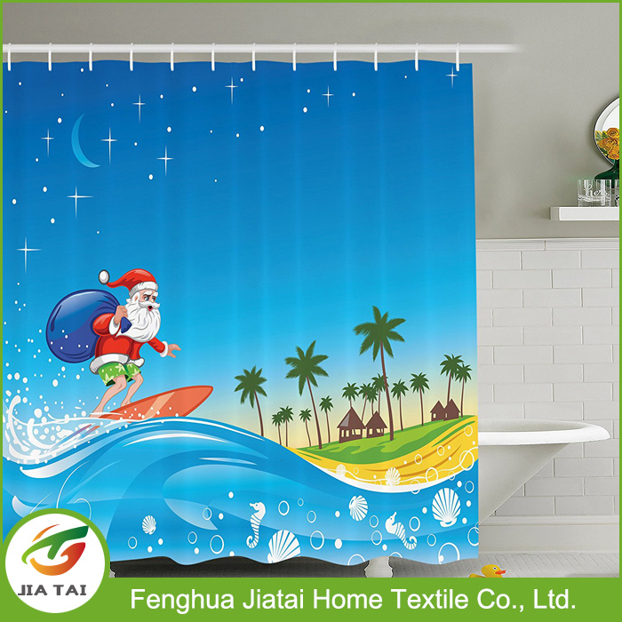 Custom Western Polyester Decorative Beautiful Snowman Shower Curtain for Kids