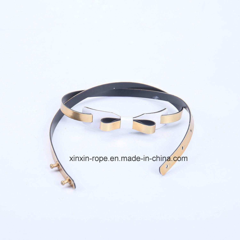 Glod Fashion Dress Skirt Decor PU Leather Belt