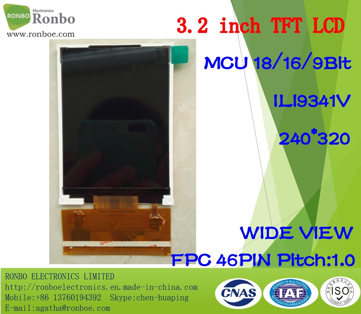 3.2 Inch 240X320 RGB TFT LCD Display, Ili9341V, 46pin with Option Touch Screen