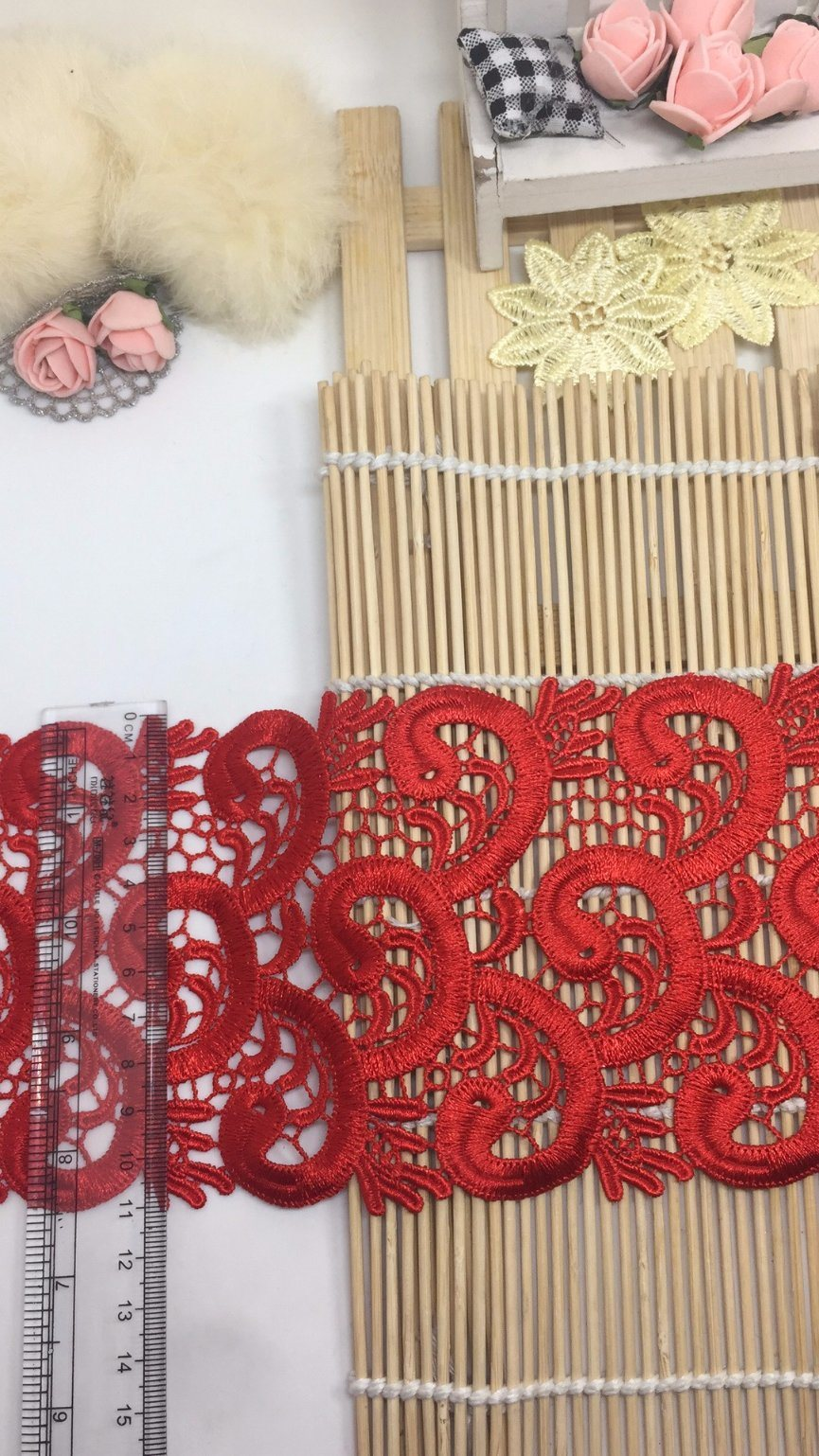 New Design 11cm Width Embroidery Trimming Nylon Polyester Lace for Garments & Home Textiles & Curtains