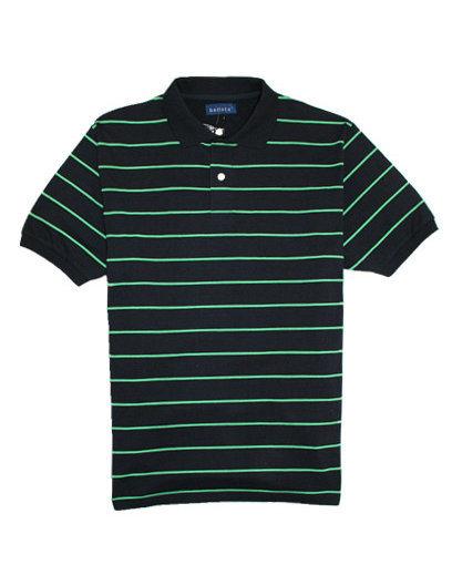 Hot Quality Cotton Lycra Jersey Striped Man′s Polo Shirt of V-Neck