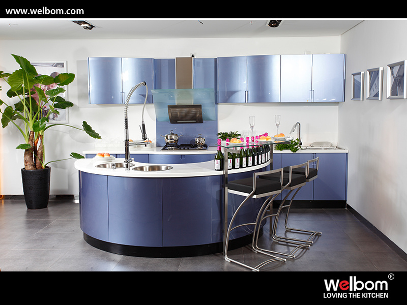 China Blue Color Modern Baked Paint Kitchen Cabinet Design Photos Pictures Made In
