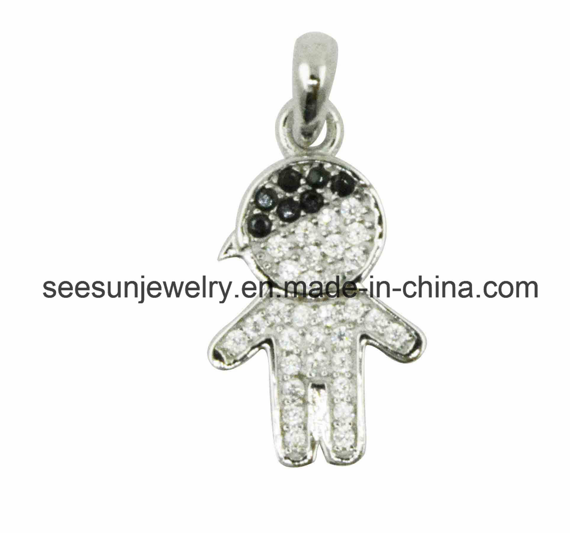 2016 Hotsale 925 Sterling Silver Little Boy and Girl Pendant