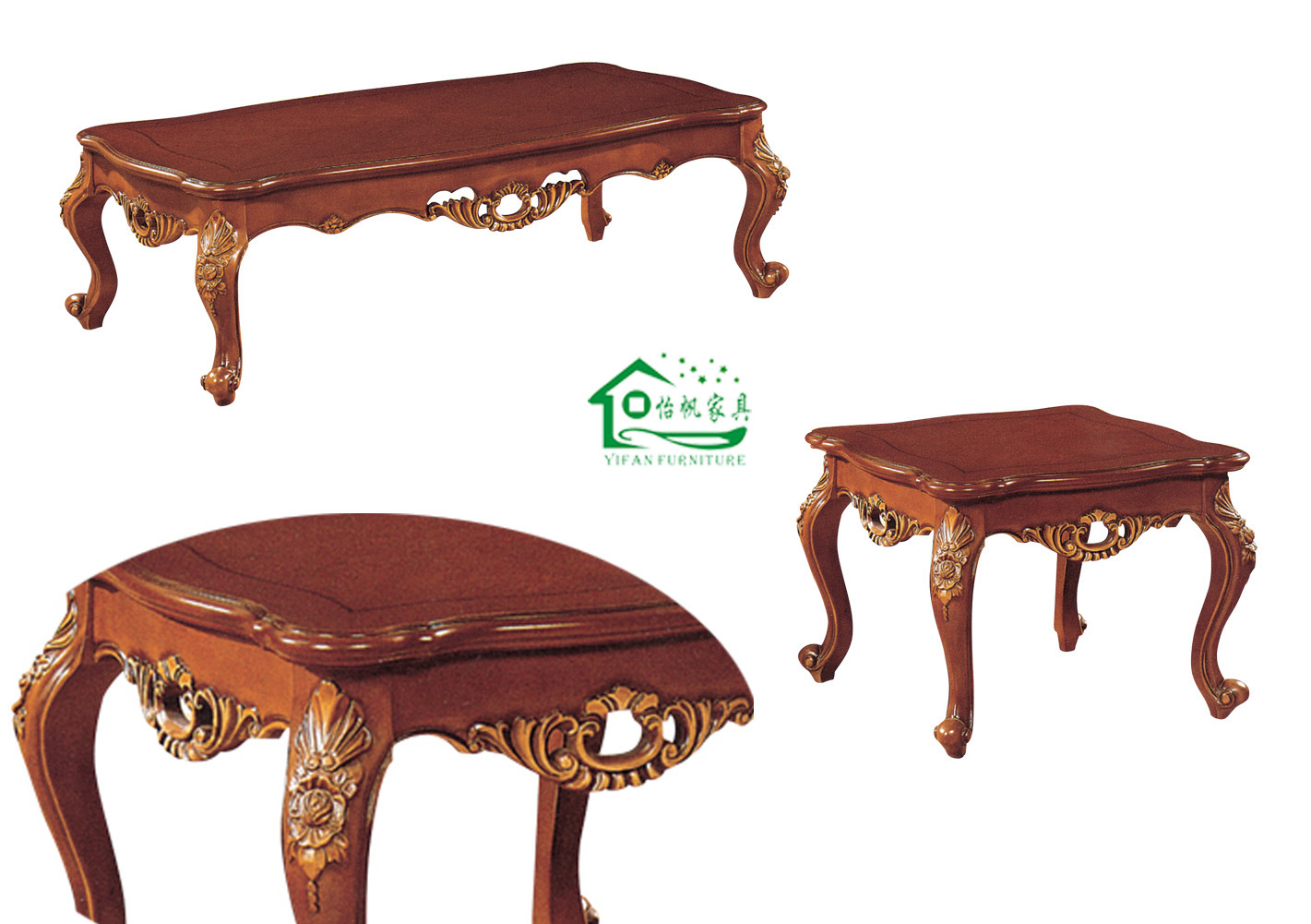 Very Impressive portraiture of Classic Wood Coffee Table and Side Table for Living Room Furniture (YF  with #0D8E37 color and 1421x1001 pixels