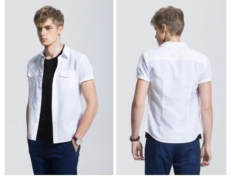 Fashion Casual New Design White Plain Men′s Shirt