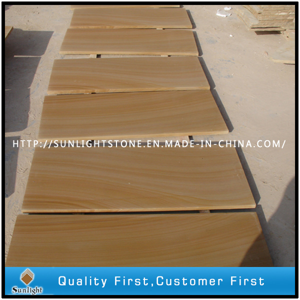 Honed Yellow Wood Vein Sandstone for Wall/Floor Tiles