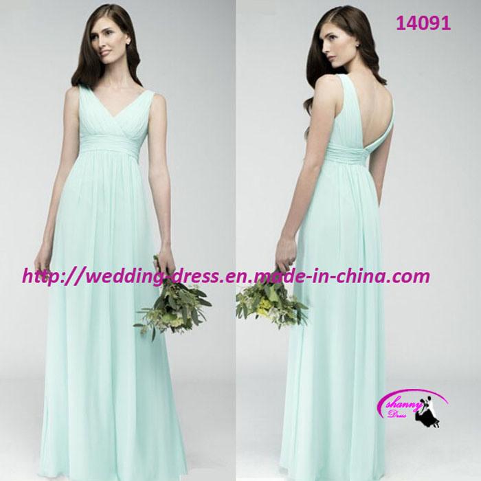 Pure Full Length Bride Evening Dress with Dark V-Neckline