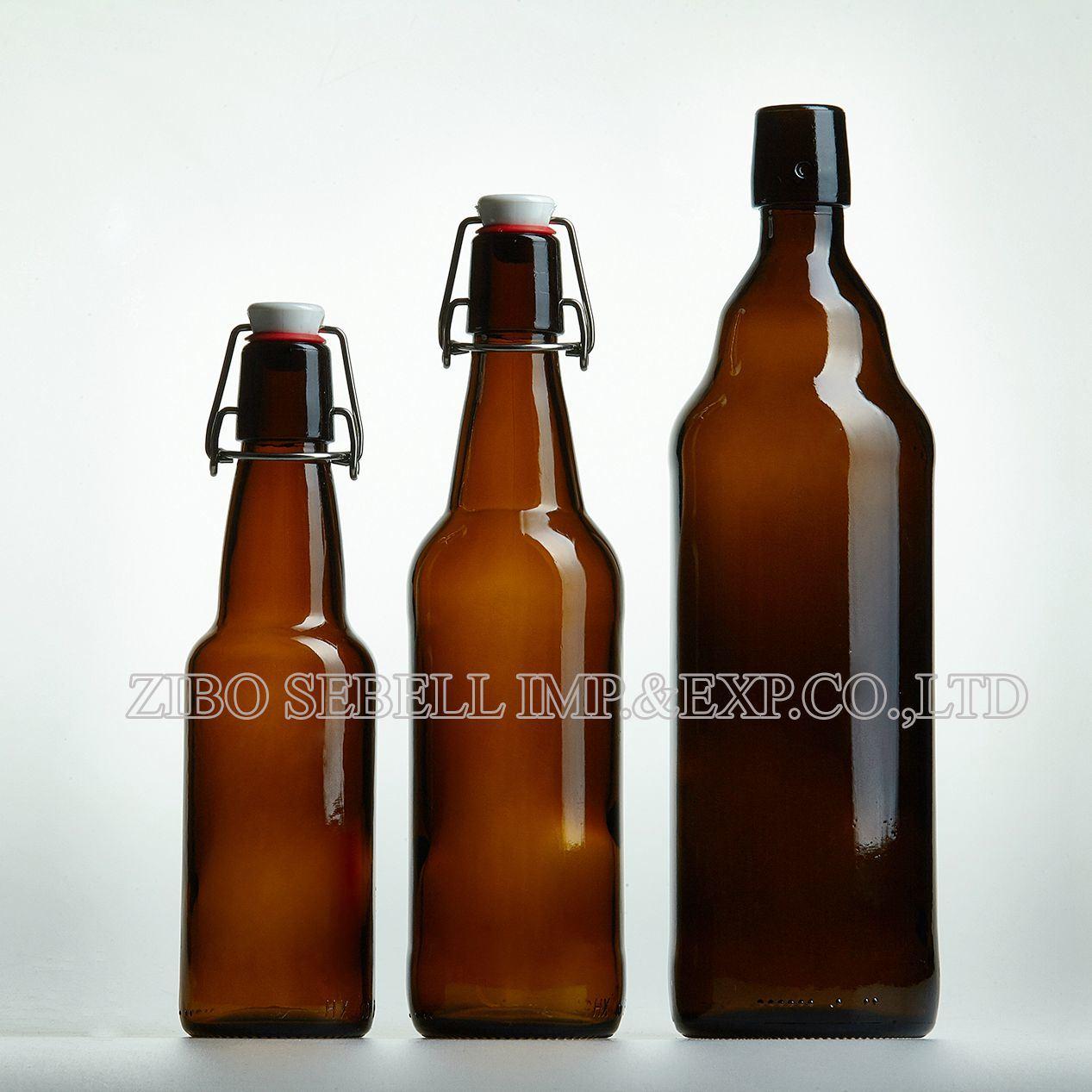 330ml, 500ml, 750ml, 1000ml Flip to Amber Glass Beer Bottle
