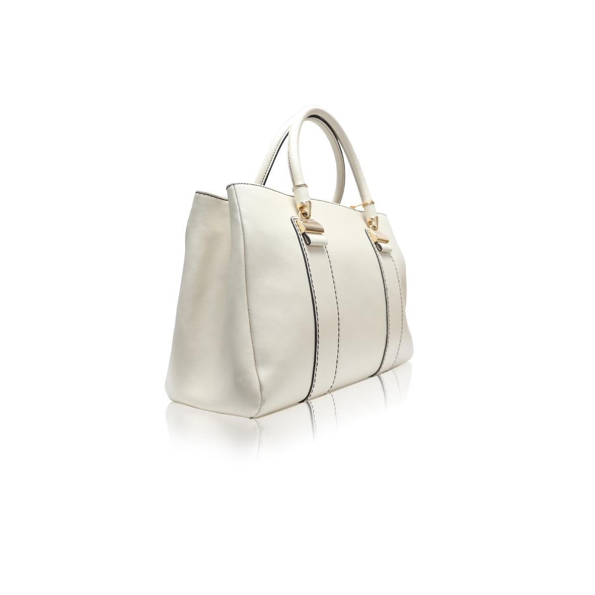 White Leather Ladies Hand Bag