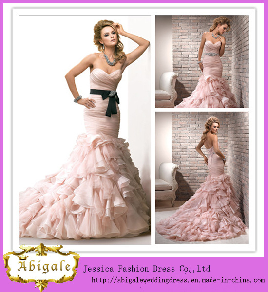 Best Selling Mermaid Sweetheart Lace Back Ruched Bodice Layered Skirt Pink Organza Wedding Gown
