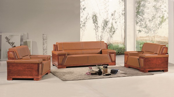 Elegant Brown Genuine Leather and Antique Wood Office Sofa Set, Office Furniture Design