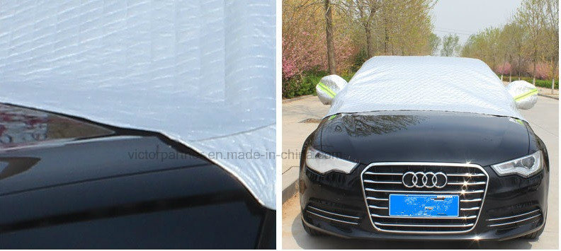 High End Folding Silver PEVA Waterproof Sunshade Half Car Cover