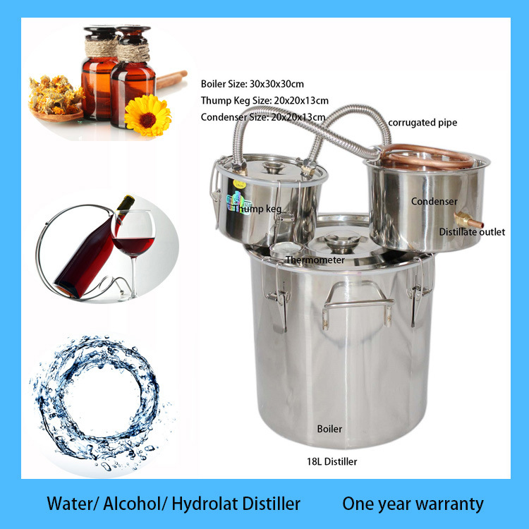 Hote Sale 18L/5 Gal Stainless Boiler Copper Ethanol Alcohol Water Distiller Moonshine Still with Thump Keg