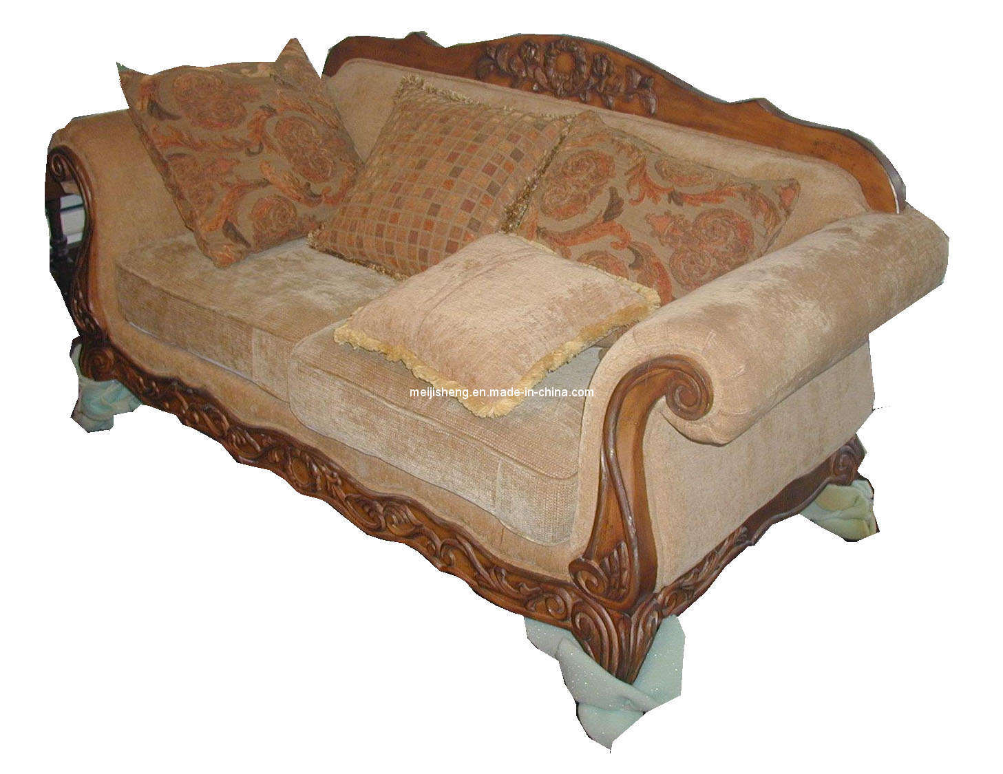 Wooden sofa chair with cushions