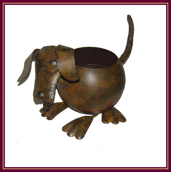 China Wrought Iron Animal Dog Planter Pots For Garden Decor China Animal Plant Pots Planter Pots