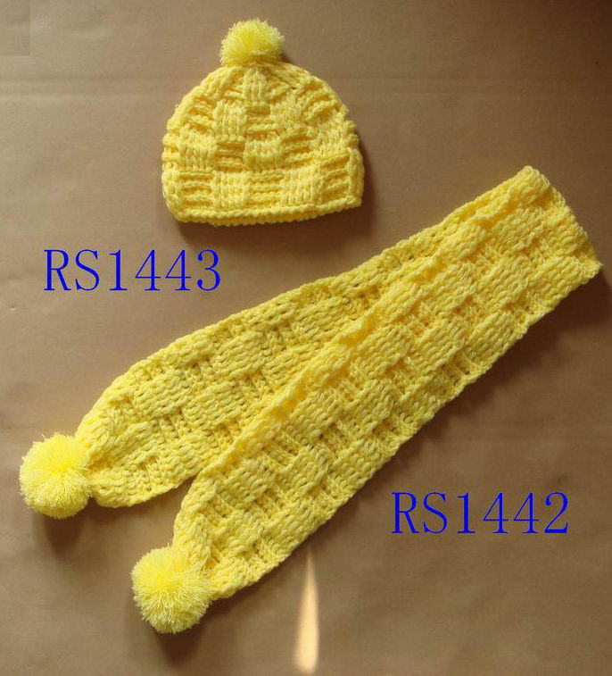 Hand Knitting Hat and Scarf for BabyChild 1442 1443 Knit Scarves For Children