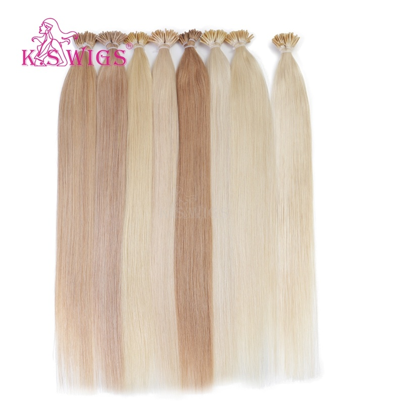 K. S Wigs 100% Virgin Remy Human Hair Keratin I-Tip Hair Extensions