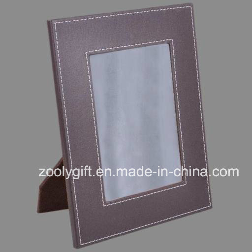5 X 7 Brown Decorative Stitched Leather Photo Frame