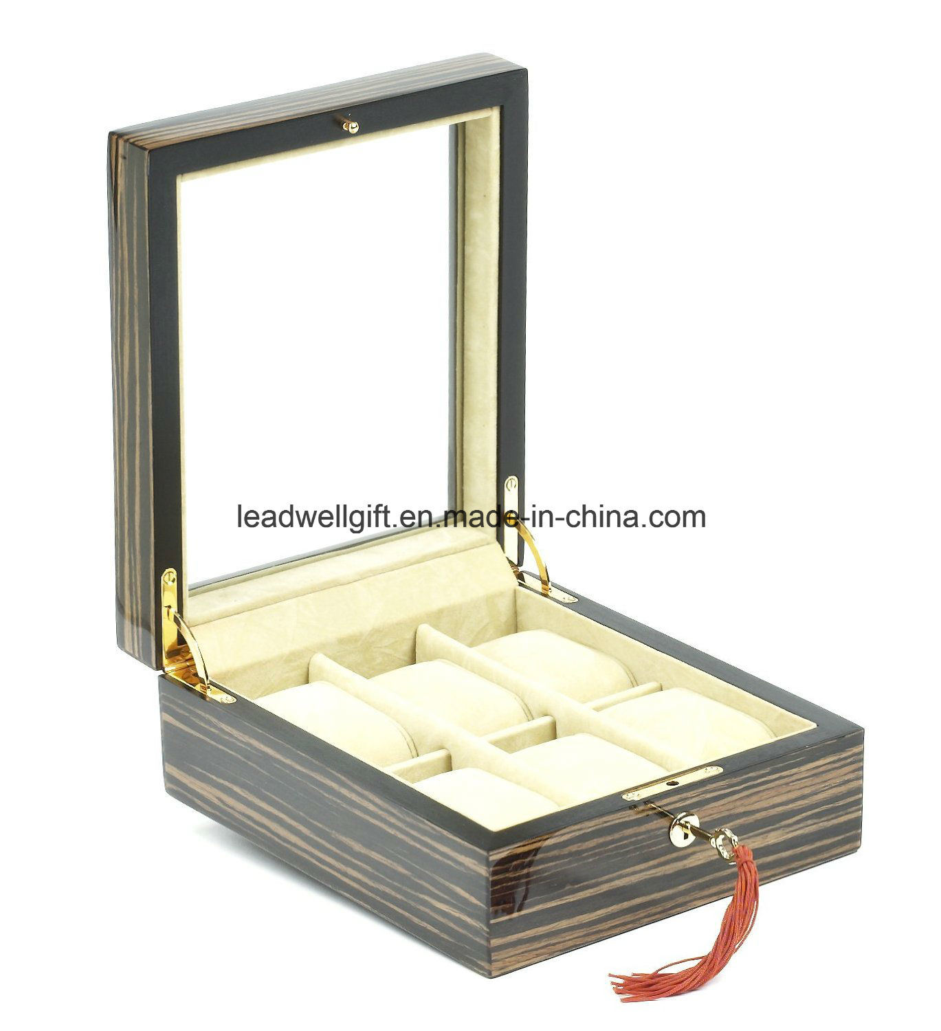 Wooden Jewelry and Watch Box for Six Watches