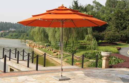 Three Layers Deluxe Outdoor Useful 8 Ribs Parasol with Marble Base