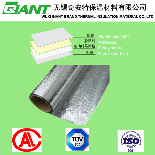 Double Side Reinforced Aluminum Film with Aluminum Foil Radiant Barrier Facing Insulation