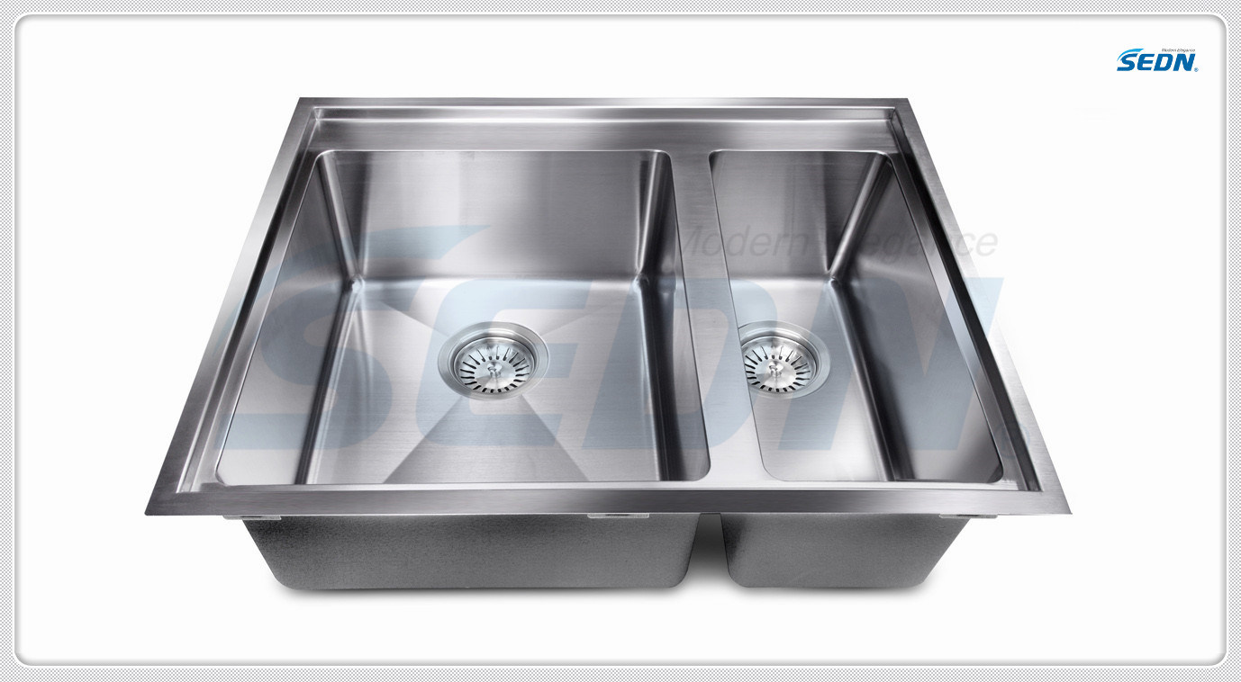 Handmade Double Bowl Stainless Steel Sinks (SC2007)