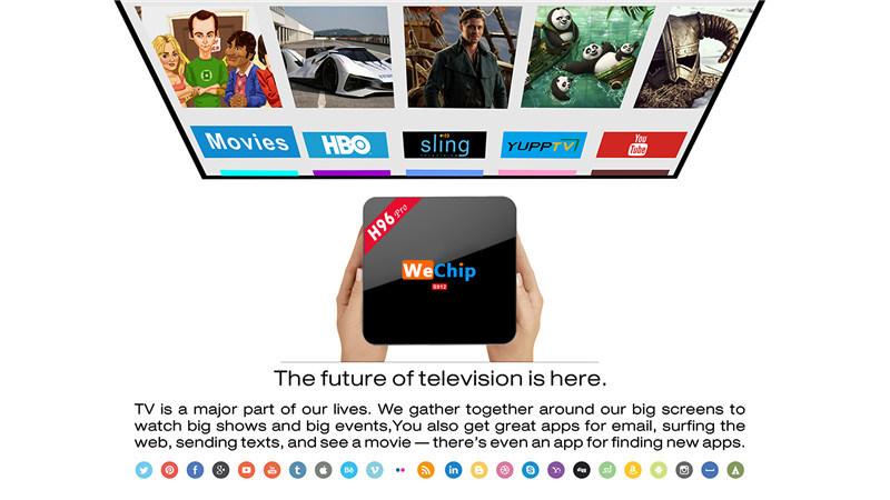 Wechip H96 PRO Google Media Player Ott H96 PRO S912 2g 16g Octa Core Android 6.0 TV Box Kodi 16.0 Media Player