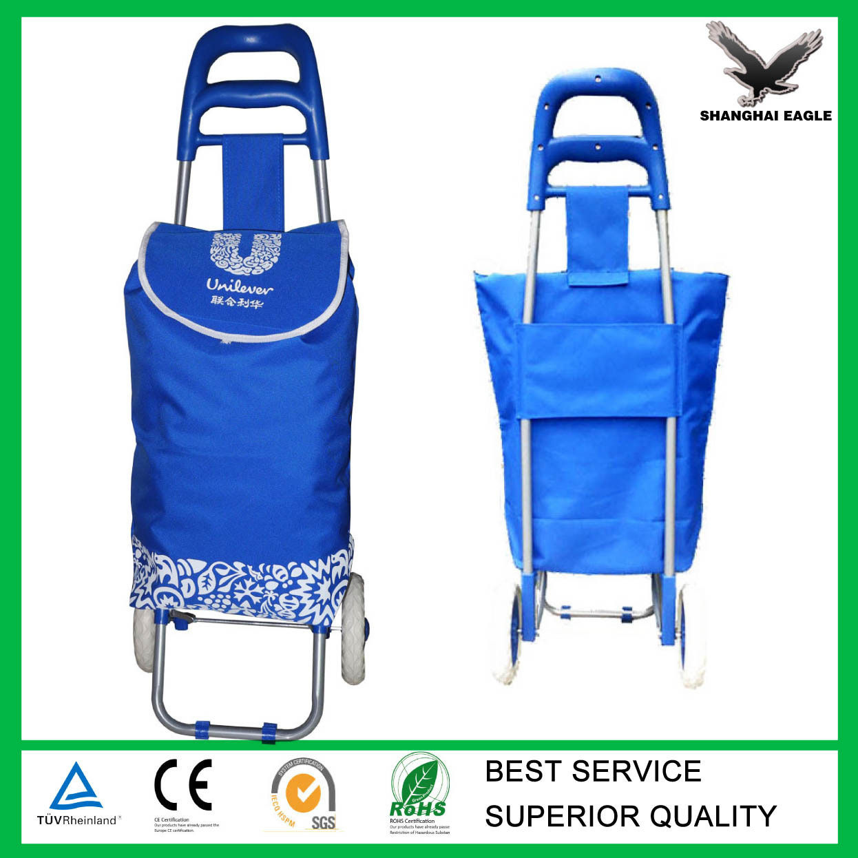 OEM Logo Printed Folding Shopping Trolley