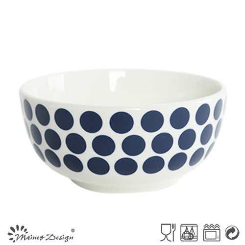 14cm Ceramic Bowl Porcelain with Blue Dots Decal