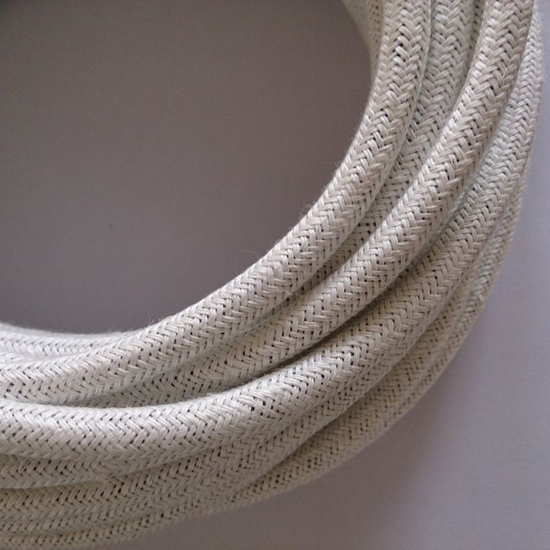 White Linnen Braided Cable Lamp Cord