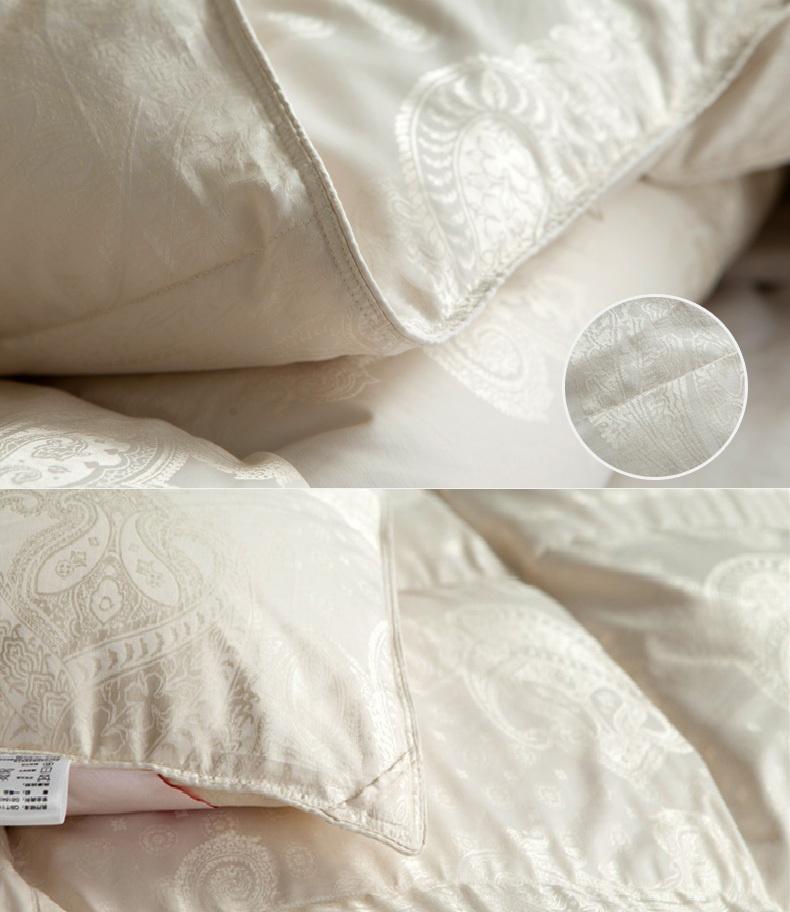 Luxury Silk Fabric Cover White Duck Down Comforter for 7 Start Hotel