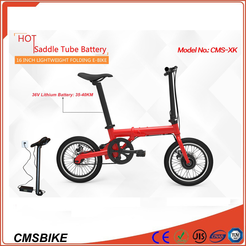 16′′ Mini City Folding Electric Bicycle with 36V Hidden Battery