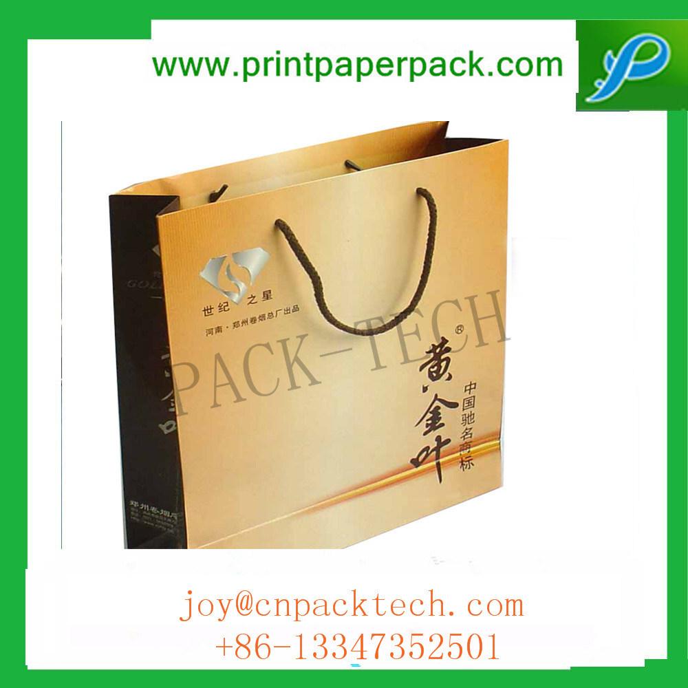 Color Printed Kraft Sos Paper Bags Lunch Food Carrier Takeaway Handles